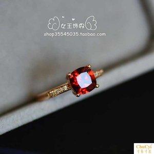 包邮日韩版彩金公主方克拉红刚玉紫宝石四爪水晶仿真碧玺钻戒指环
