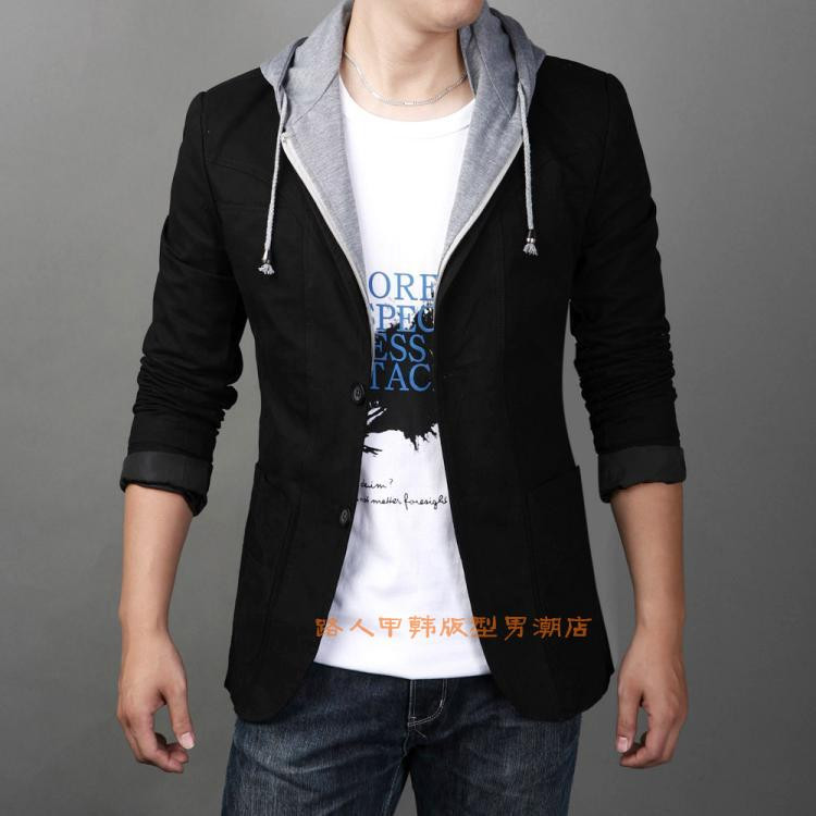 Hooded Blazer mens youth slim long sleeve cotton jacket large size single suit new Korean Hoodie