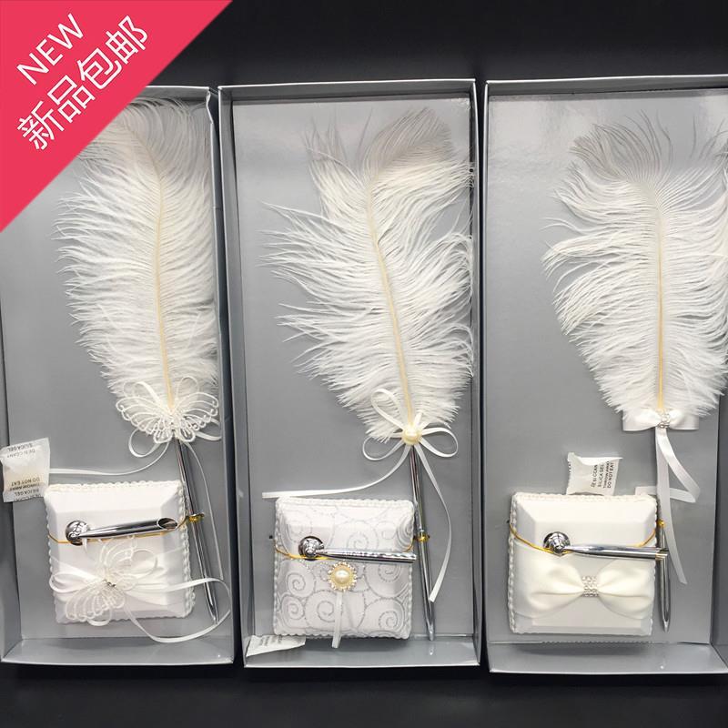 家居结婚婚庆用品羽毛4笔欧式婚礼签到笔香港西式教堂鸵鸟白色