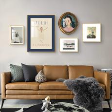 北欧客厅组合画小众复古沙发背景墙壁挂画简约美式风格装饰画轻奢