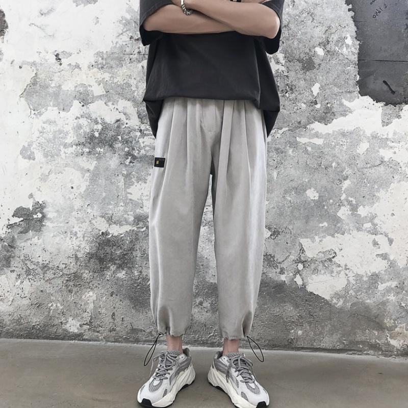 夏季薄款休闲裤男士九分裤子男学生韩版宽松哈伦工装裤潮束脚
