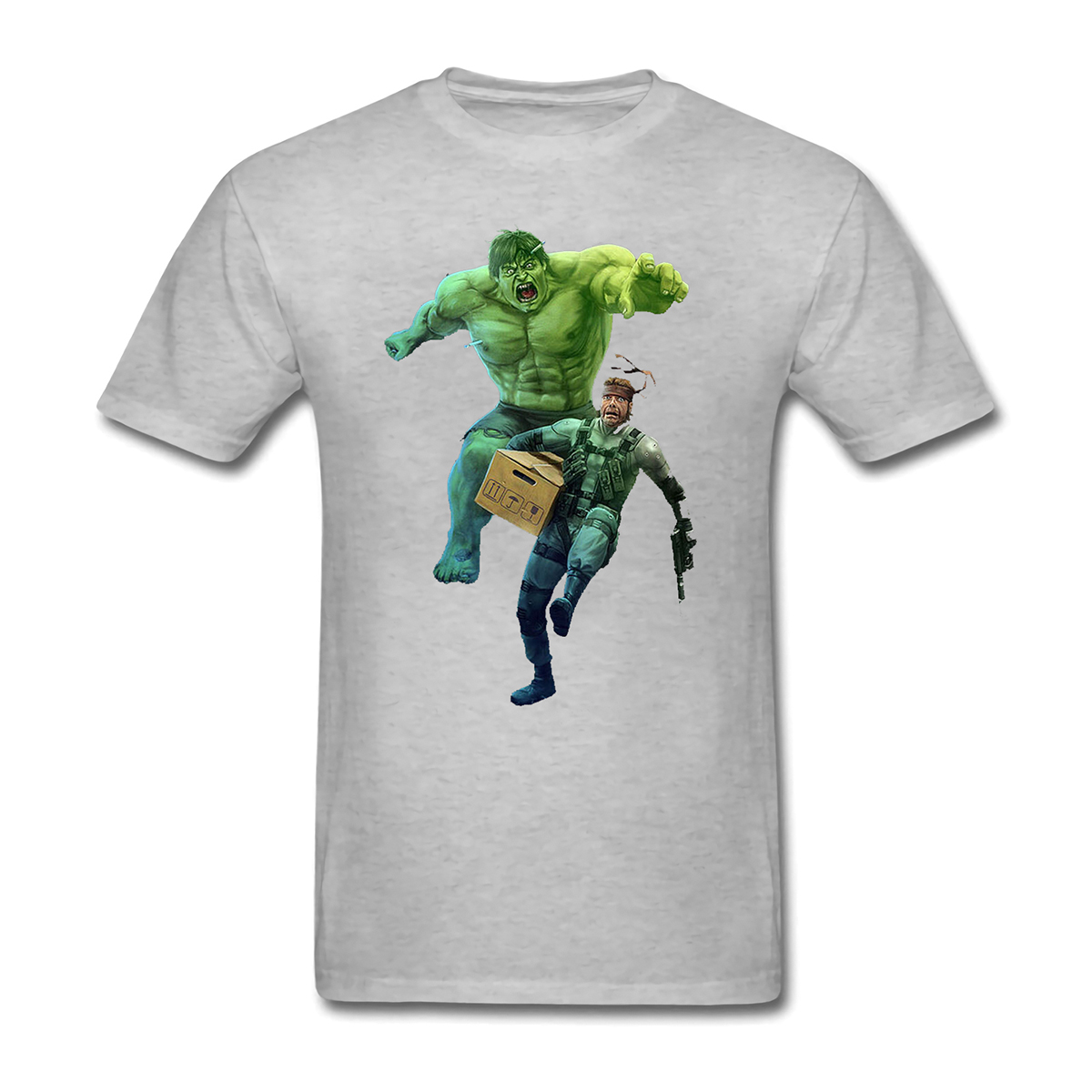 Metal Gear Solid Snake and Hulk inspi design Short Sleeve T-shirt for men and women