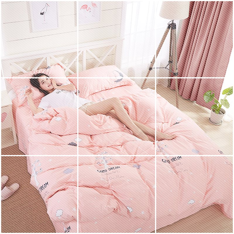 Childrens four piece set of cotton pure cotton cartoon girl heart princess lovely bed sheet quilt cover three piece Bedding Set