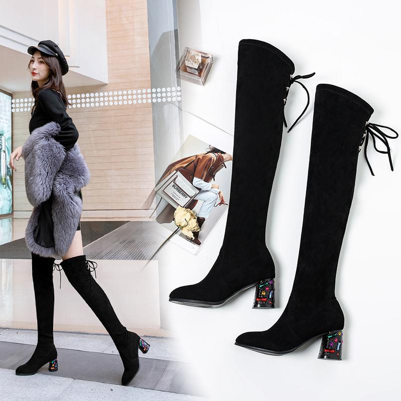 长靴女过膝粗跟瘦瘦靴2019秋冬季高跟长筒靴显瘦弹力靴单靴女靴子
