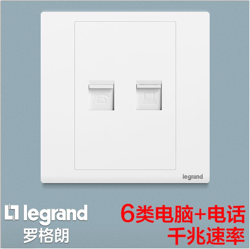 Class 6 gigabit network cable computer network port + telephone socket panel super class 6 network two in one