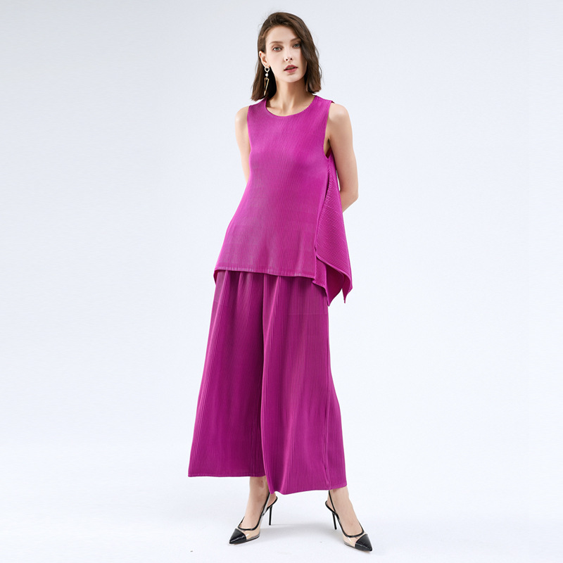 Fashion casual suit 2020 summer solid color comfortable and breathable sleeveless T-shirt pants two piece womens dress