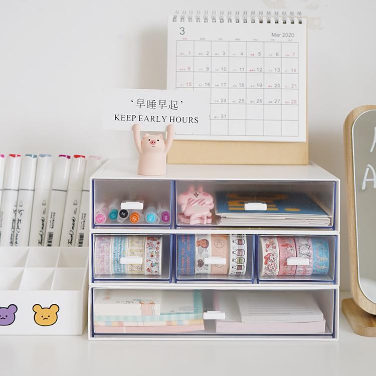 ins风简约白色可叠加组合桌面收纳盒 学生宿舍抽屉整理盒办公文具图片
