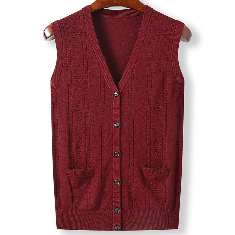 High grade authentic middle-aged and old mens large size knitted cardigan waistcoat plus large woolen vest fat spring and Autumn