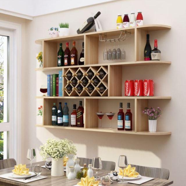 Theme restaurant office teak red wine rack wall hanging modern hot pot shop showcase dress shop closet with rack