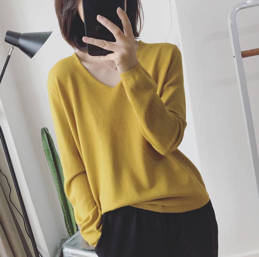五分袖t恤女v领学生韩版宽松2019春夏新品上衣长中袖针织衫毛衣女