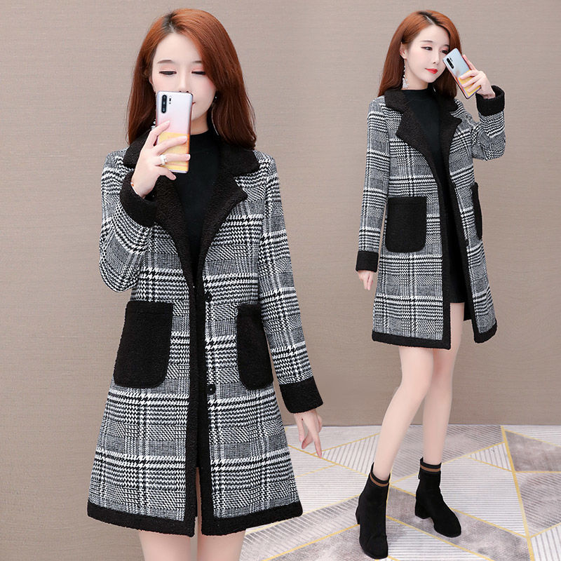 Cashmere coat womens fall / winter 2020 new Plaid cashmere thickened fashion foreign style medium long woolen overcoat