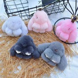 满二送一装死兔毛绒挂件小兔子包包挂饰品可爱萌萌兔汽车钥匙挂件图片