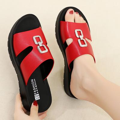 大码妈妈夏防滑舒适平底坡跟拖鞋