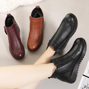 短靴中年保暖平底皮鞋 加絨雪地靴軟底防滑舒適女棉靴 媽媽棉鞋 冬季