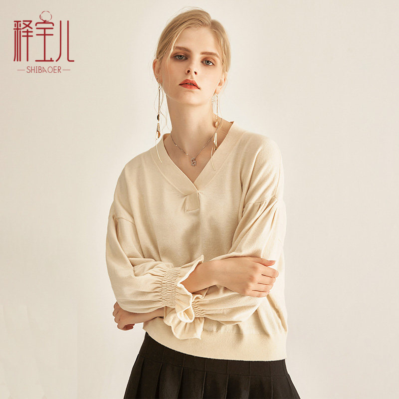 Shibaoer autumn new V-neck lazy sweater off shoulder sleeve top loose long sleeve Pullover Sweater