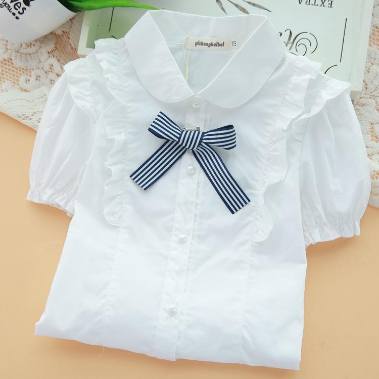 女童衬衫短袖中大童衬衣女孩白色演出服中大童夏季D1