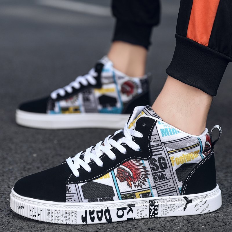 High end brand autumn new pattern canvas shoes mens high top fashion size 47 casual mens shoes size 45 extra large