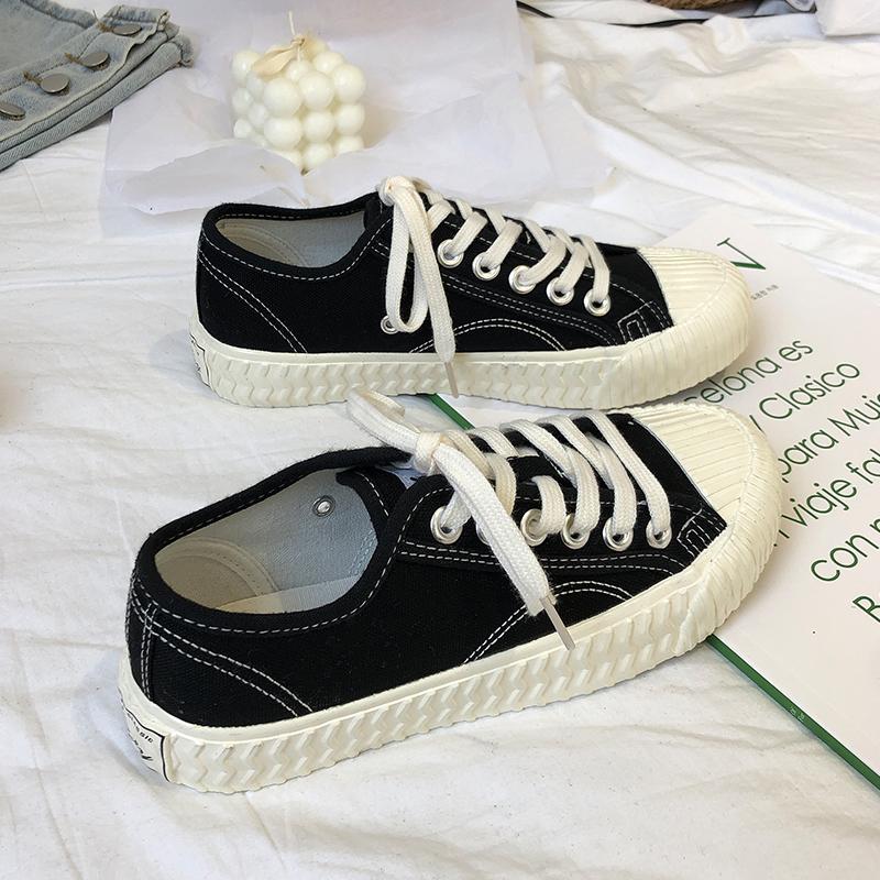 黑色饼干帆布鞋女韩国ins潮鞋ulzzang2020年百搭低帮贝壳头板鞋子图片