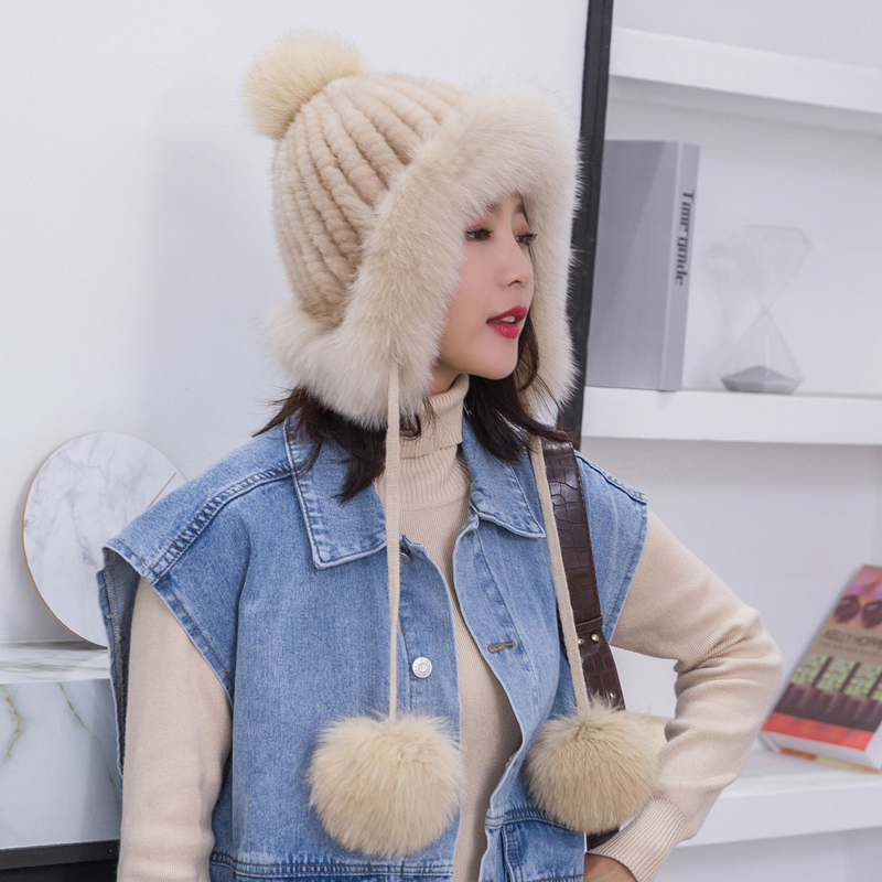 Mink fur hat children winter Korean version of outdoor warm and lovely ear protection fox fur ball fur hat new ski hat