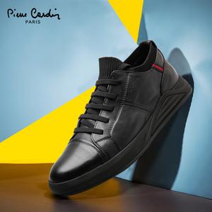 皮尔卡丹时尚休闲皮鞋2020春秋新品真皮百搭系带英伦弹力布男鞋