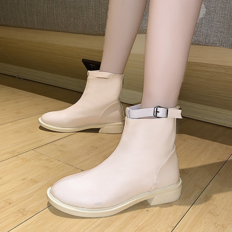 2020 new spring and autumn Korean single boot, thick heel, middle heel, white button belt, Martin boots, versatile and fashionable womens short boots
