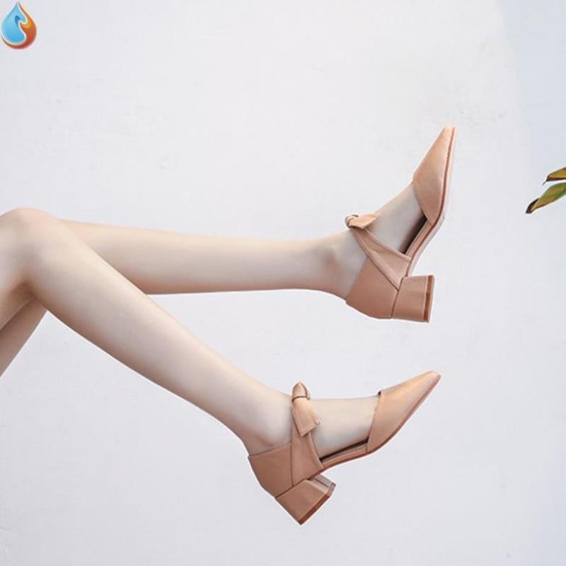 Spring 2020 new versatile lady Xianqi single shoes medium heel thick heel French girl evening high heel womens shoes