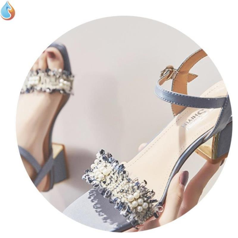 Fairyland peep toe sandals with thick heels new summer shoes gentle high heels womens shoes trend