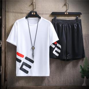 两件套速干运动套装2020夏季男t恤