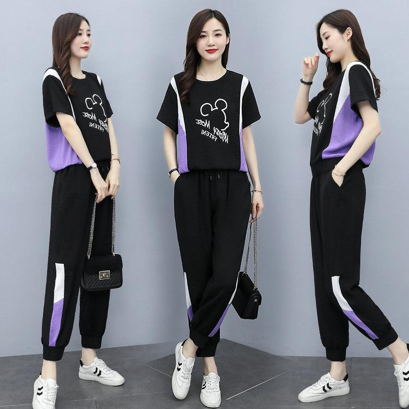 运动休闲套装女夏2021年新款韩版显瘦大码气质字母上衣裤子两件套