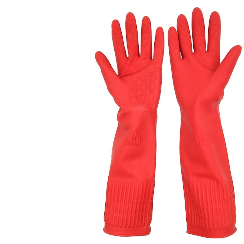 Optimized rubber for washing dishes with cow tendon, long wear-resistant and thickened waterproof latex rubber, long plastic long sleeve rubber gloves
