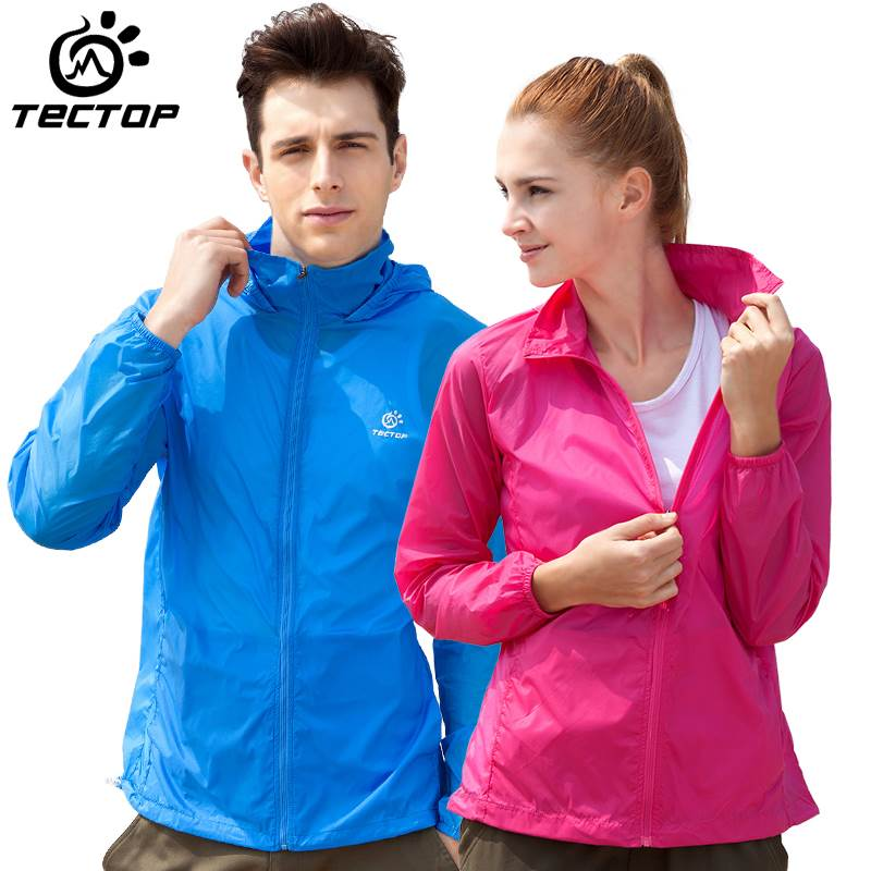 Explore the spring and summer mens and womens skin clothes sunscreen clothes outdoor sports windbreaker waterproof thin breathable hot running