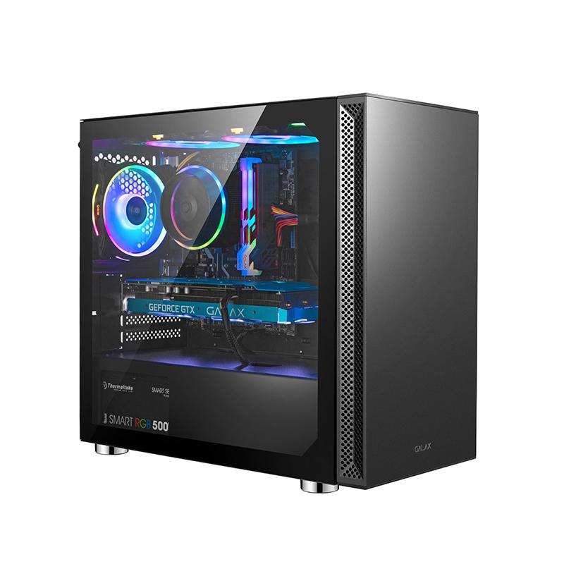 影驰 博克斯黑色机箱台式DIY侧透RGB游戏一体水冷M-ATX小机箱背线
