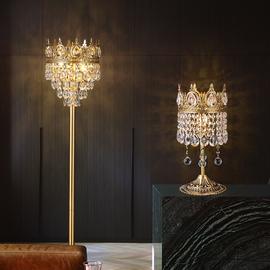 欧式轻奢客厅卧室简约大气宫廷床头水晶台灯法式温馨全铜落地灯具