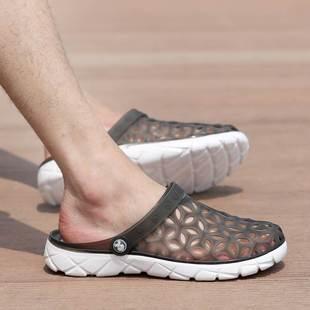 不露腳趾拖鞋男 不漏腳趾頭的涼鞋男夏季男士鞋拖鞋沙灘火熱暢銷