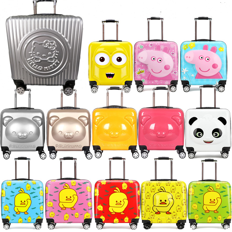 Pull pole box bear bag suitcase children pull rod box travel