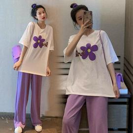 孕妇套装夏季棉印花T恤+紫色裤腿显瘦托腹裤两件套装外穿时尚款