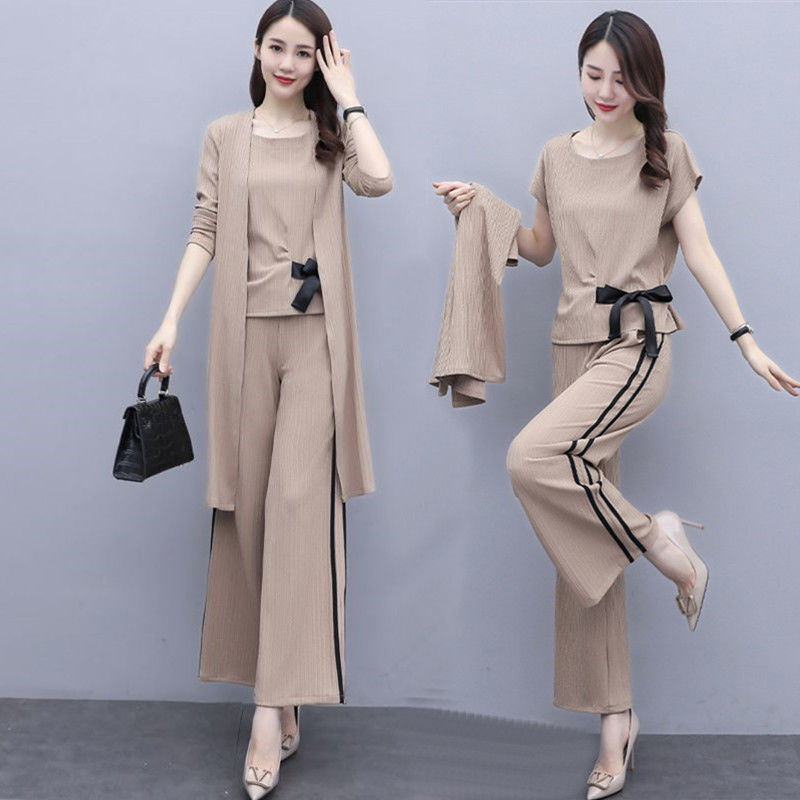 Three piece fashion suit womens 2021 autumn new style wide leg pants with thin and foreign style
