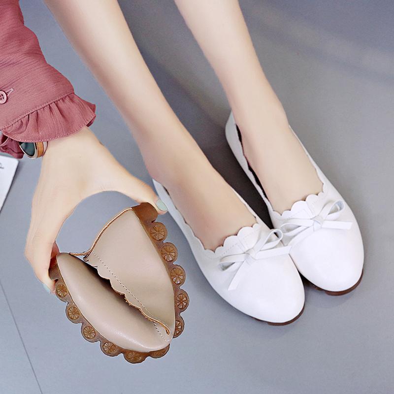 牛筋软底豆豆鞋女2019夏季新款蝴蝶结镂空单鞋女鞋子防滑平底鞋