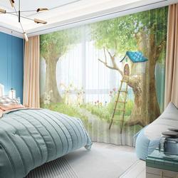 卡通动漫风绿色兔子绿树遮光窗帘布纱女孩儿童房窗帘飘窗卧室定制