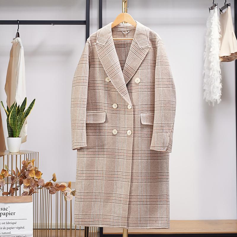 格子羊毛大衣双面呢中长款双排扣西装领2020冬季新款毛呢外套女