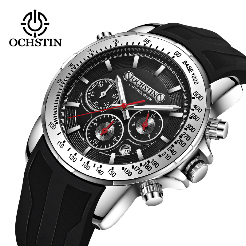 Fashion and fashion womens watch ochtin brand multi-functional Chronograph mens sports silicone quartz waterproof