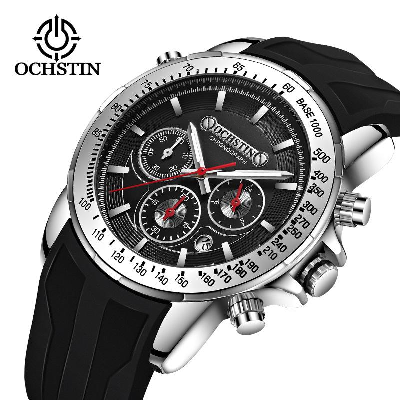 Fashionable womens watch ochstin brand multi-function Chronograph mens sports silicone quartz waterproof