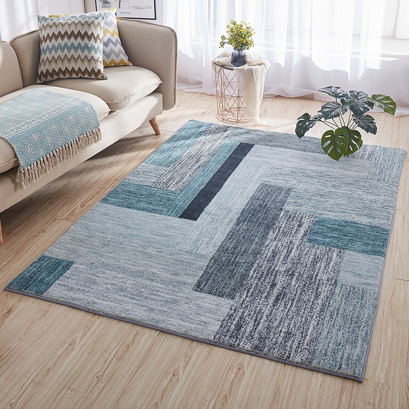 加密水墨绒北欧地毯客厅沙发茶几垫时尚简约卧室床边地垫满铺床尾,可领取5元天猫优惠券