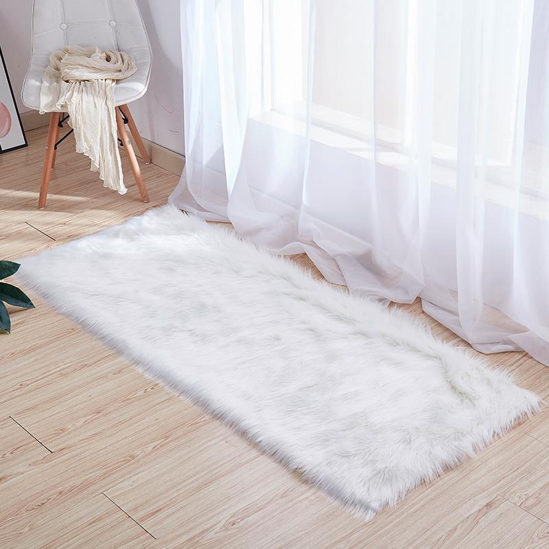 白色毛毛床边地毯房间飘窗垫卧室客厅地毯仿羊毛橱窗装饰拍照垫子,可领取5元天猫优惠券
