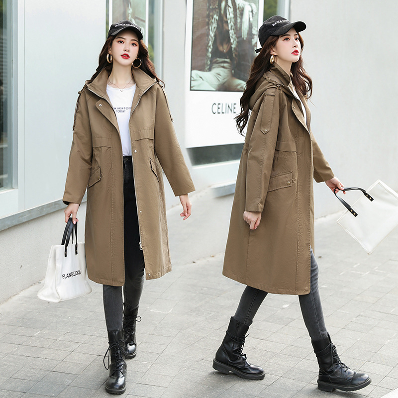 Temperament high collar base shirt womens thickened slim other solid color commuter popular mid Hooded Coat in spring of 2019