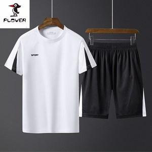 啄木鸟男潮流夏天短袖短裤两件套2019新款男装夏装休闲运动套装