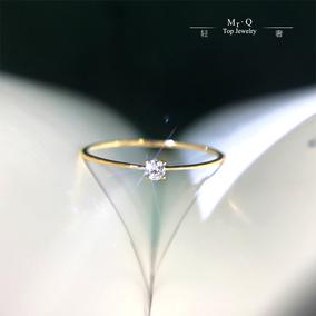 18k黄金k白钻戒轻奢钻石单钻戒指