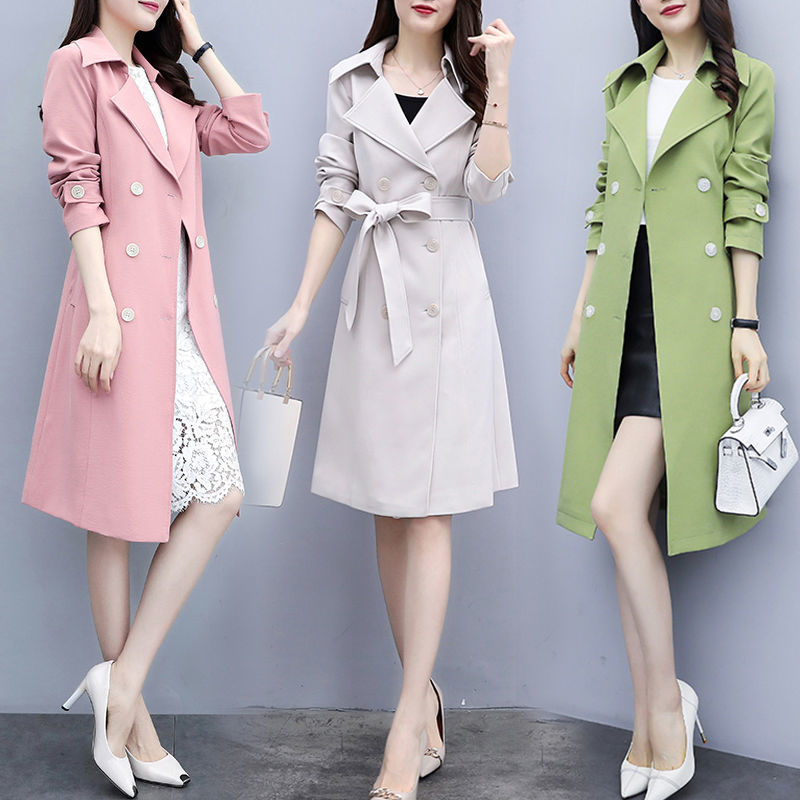 [with lining] windbreaker womens 2021 spring and Autumn New Korean loose casual thin knee length jacket