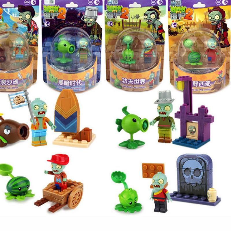 新款扭蛋四大世界角色红色植物大战僵尸弹射玩具豌豆拼装积木儿童