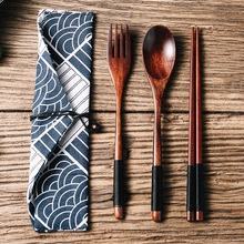 Creative Japanese style wooden chopsticks and spoons set three pieces of household and student portable tableware, chopsticks, spoons and Forks Set